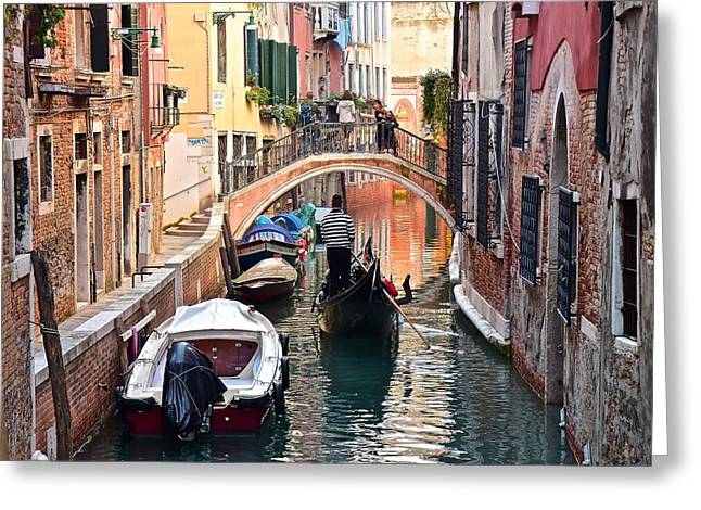 Venice Gondolier Greeting Card by Frozen in Time Fine Art Photography