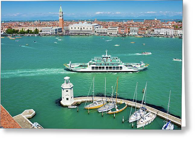 Venice Grand Canal And San Marco Greeting Card by Matthias Hauser