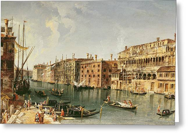 Venice, Grand Canal And The Fondaco Dei Turchi  Greeting Card by Michele Marieschi