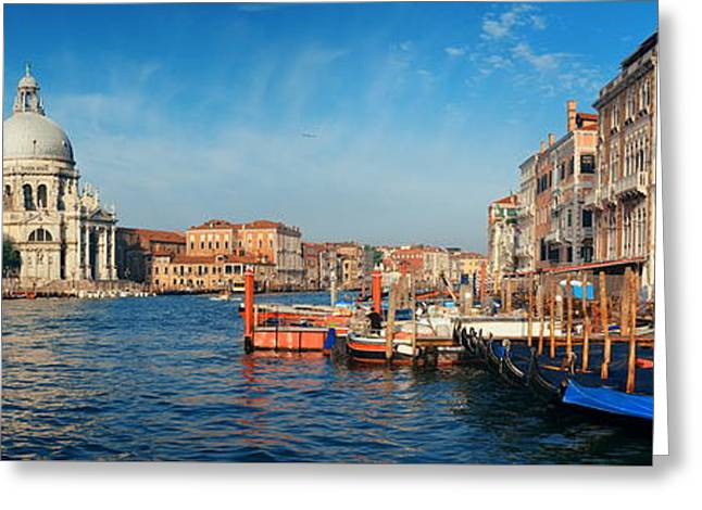 Greeting Card featuring the photograph Venice Grand Canal Boat by Songquan Deng
