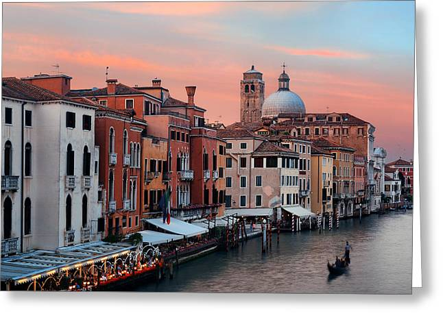 Greeting Card featuring the photograph Venice Grand Canal Gondola by Songquan Deng