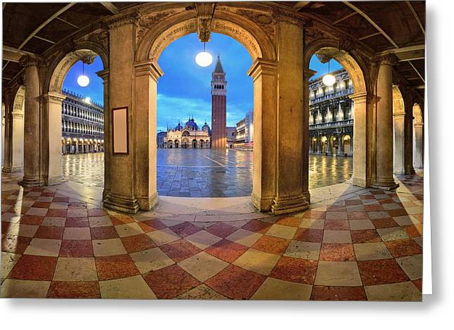 Greeting Card featuring the photograph Venice Hallway by Songquan Deng