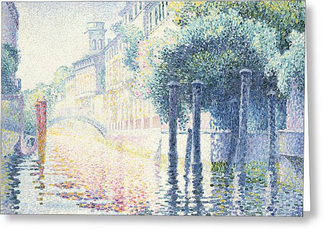 Lights Reflecting On Water Greeting Cards - Venice Greeting Card by Henri-Edmond Cross