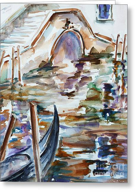 Greeting Card featuring the painting Venice Impression I by Xueling Zou