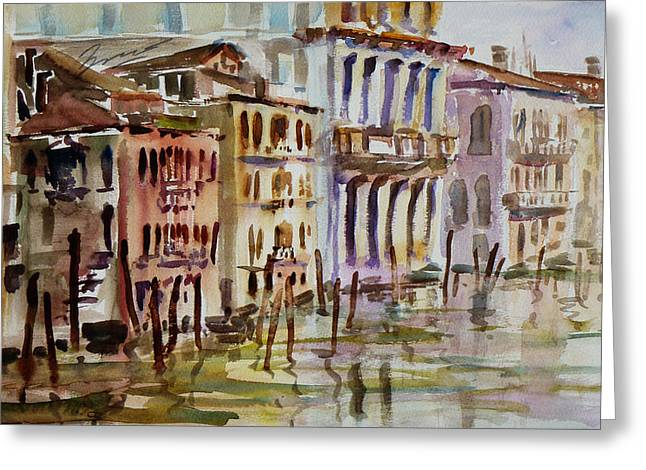 Greeting Card featuring the painting Venice Impression II by Xueling Zou