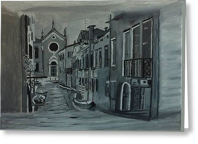 Venice In Grey And White Greeting Card by Rod Jellison