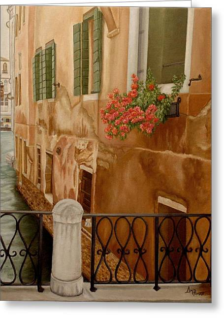 Greeting Card featuring the painting Venice In June by Angeles M Pomata