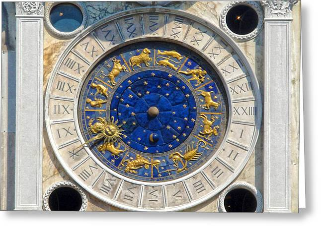 Venice Italy - St.mark's Clock Tower Greeting Card by Gregory Dyer