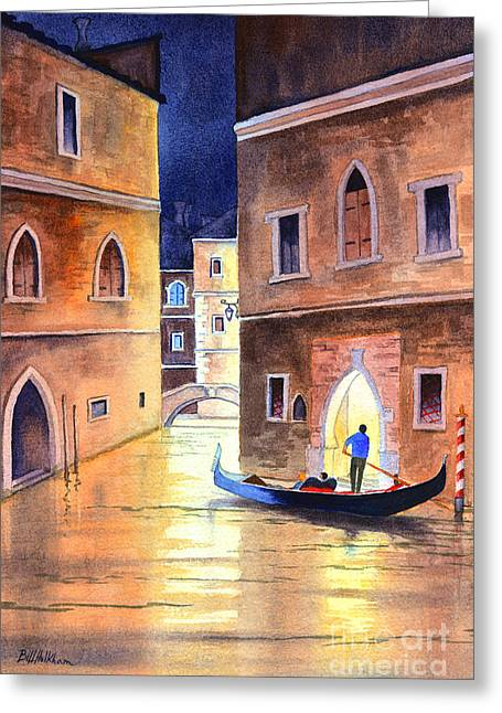 Venice Italy Evening Gondola Ride Greeting Card by Bill Holkham