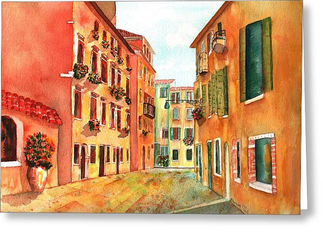 Venice Italy Street Greeting Card by Sharon Mick