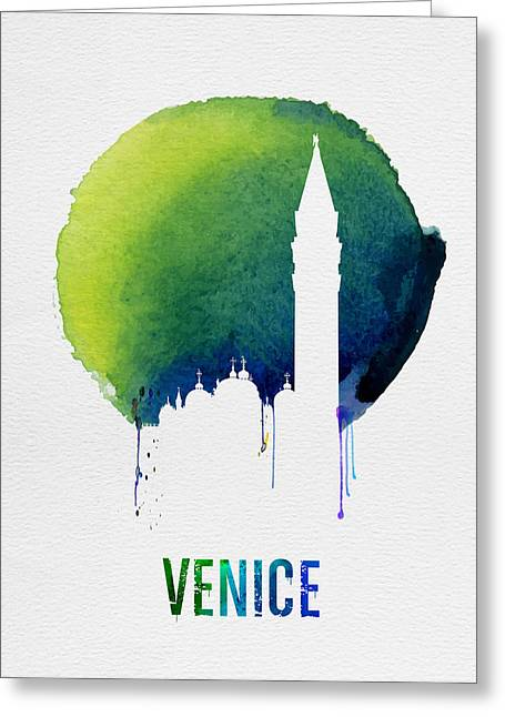 Venice Landmark Blue Greeting Card by Naxart Studio