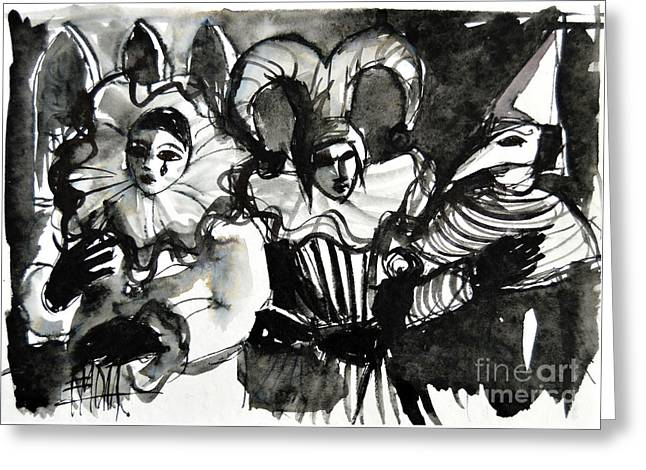 Venice Masks Trio Greeting Card by Mona Edulesco