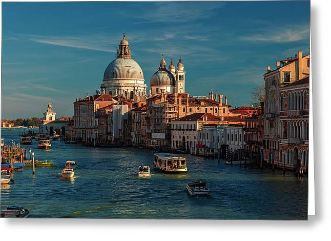 Venice Morning Traffic Greeting Card by Andrew Soundarajan