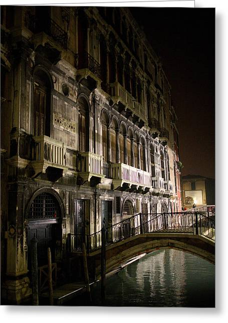 Venice Night Scene Greeting Card by Neil Buchan-Grant
