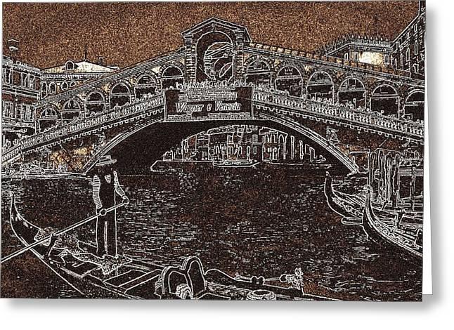Venice Rialto Bridge Gondola Greeting Card by Art America Online Gallery