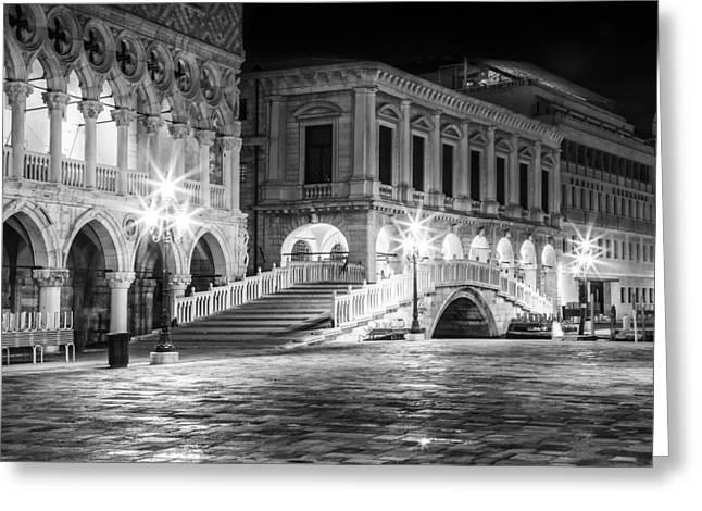 Venice Riva Degli Schiavoni By Night Black And White Greeting Card