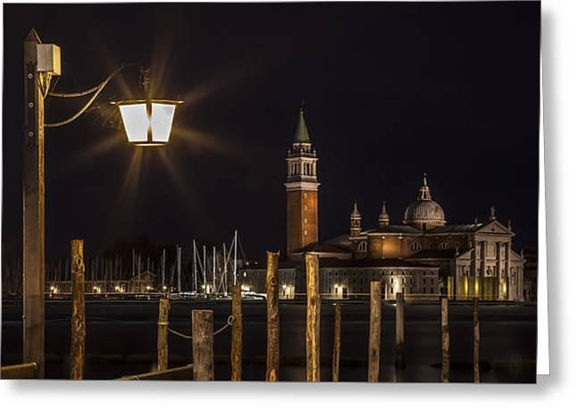 Venice San Giorgio Maggiore At Night Panoramic View Greeting Card by Melanie Viola