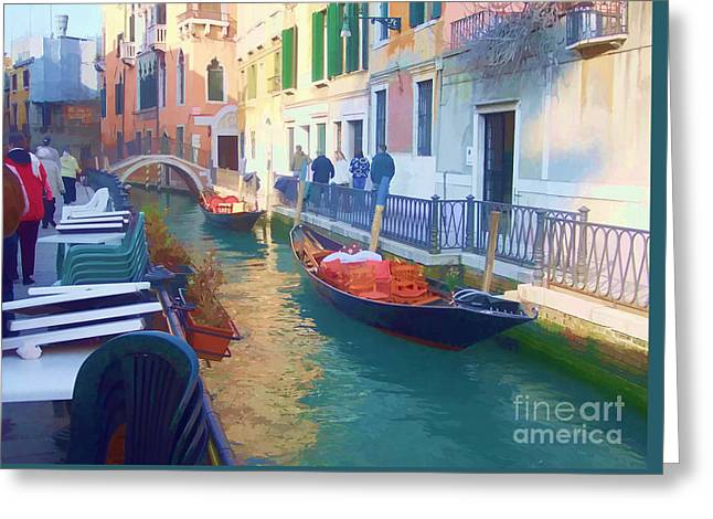Greeting Card featuring the photograph Venice Sidewalk Cafe by Roberta Byram