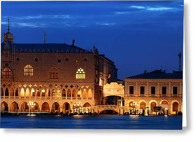 Greeting Card featuring the photograph Venice Skyline At Night Panorama by Songquan Deng