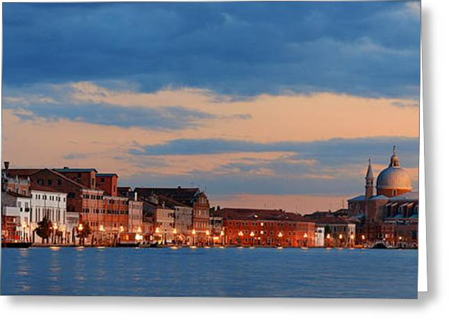 Greeting Card featuring the photograph Venice Skyline Panorama At Night by Songquan Deng