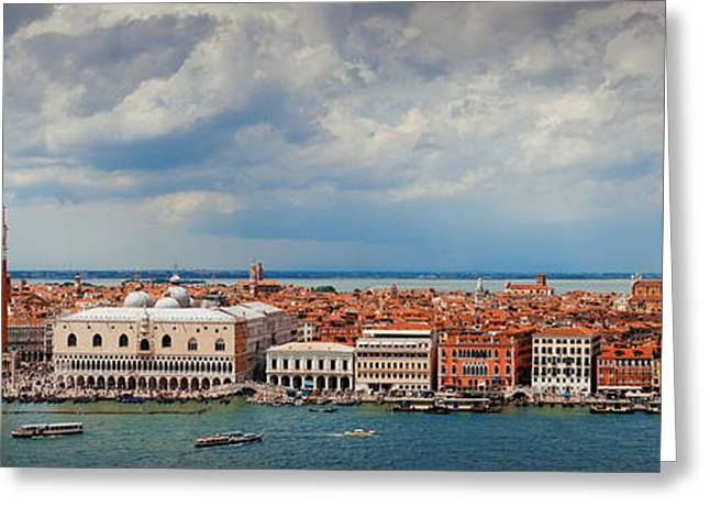 Greeting Card featuring the photograph Venice Skyline Panorama by Songquan Deng
