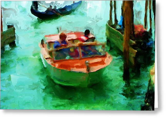 Venice Smooth Boat Ride Greeting Card by Brian Reaves