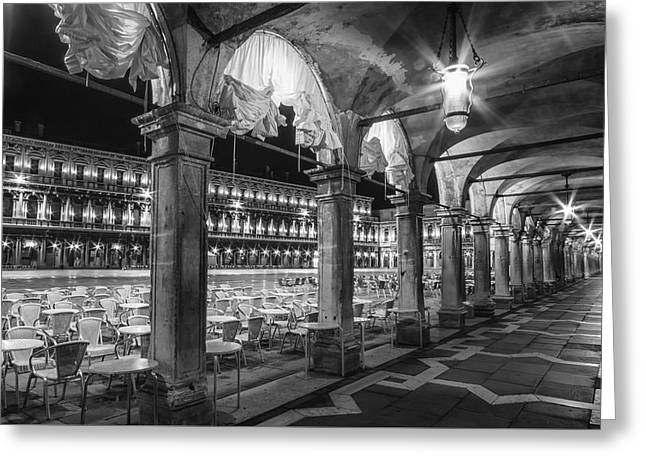 Venice St Mark's Square At Night Black And White Greeting Card
