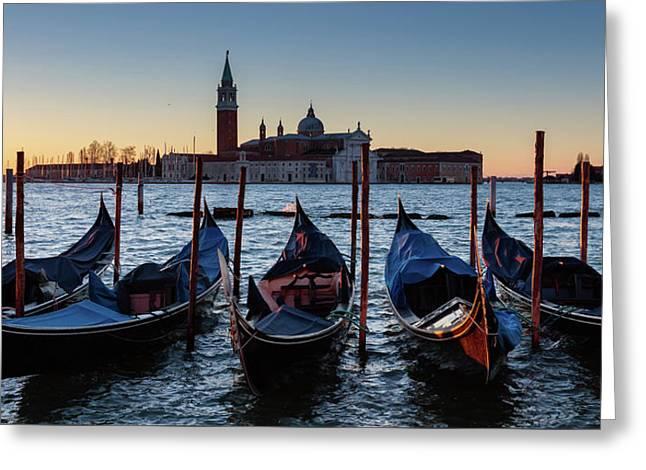 Venice Sunrise With Gondolas Greeting Card by Evgeni Dinev