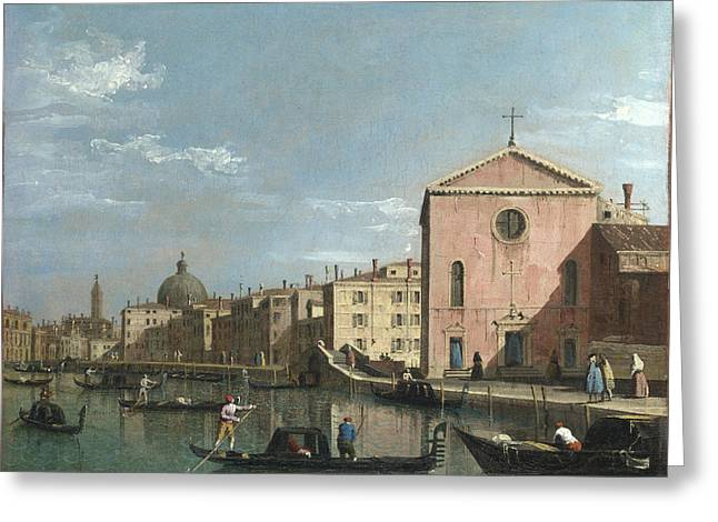 Venice   The Grand Canal Facing Santa Croce Greeting Card by Follower of Canaletto