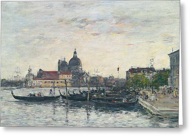 Venice, The Mole At The Entrance To The Grand Canal And The Salute, Evening Greeting Card by Eugene Louis Boudin