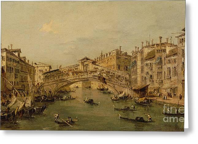 Venice  The Rialto Greeting Card by Francesco Guardi