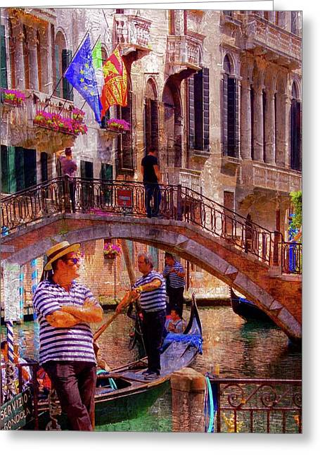 Venice- The Waiting Gondolier Greeting Card by Brian Lukas