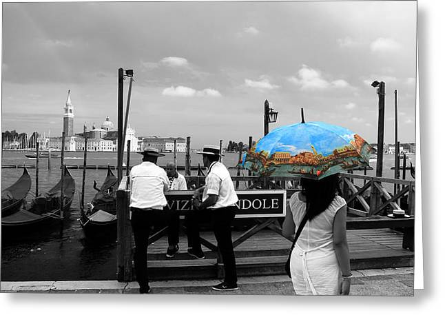 Greeting Card featuring the photograph Venice Umbrella by Andrew Fare