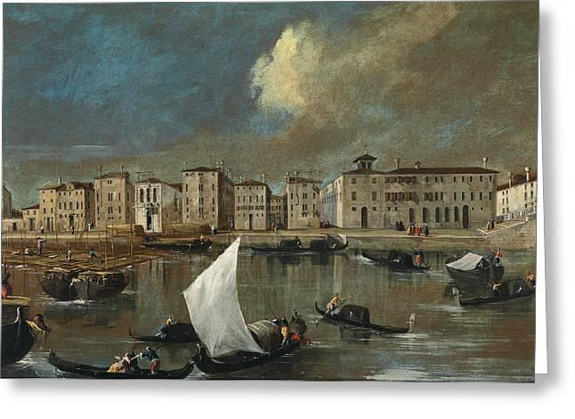 Venice, View Of The Fondamenta Nuove Greeting Card by Apollonio Domenichini