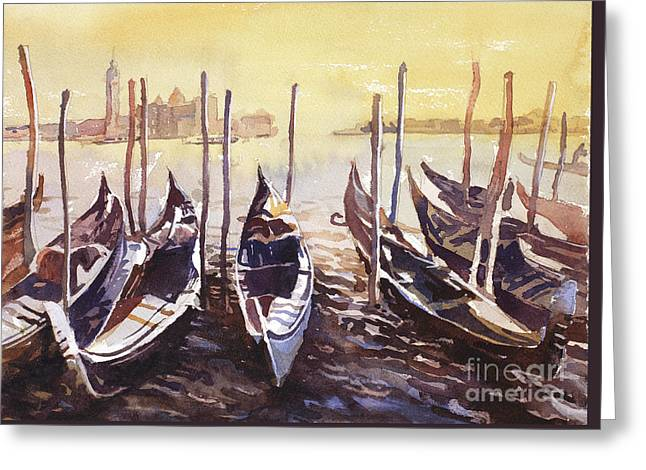 Greeting Card featuring the painting Venice Watercolor- Italy by Ryan Fox