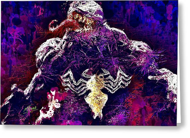 Greeting Card featuring the mixed media Venom by Al Matra