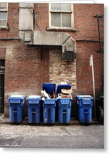 Vent And The Bins Greeting Card by Kreddible Trout