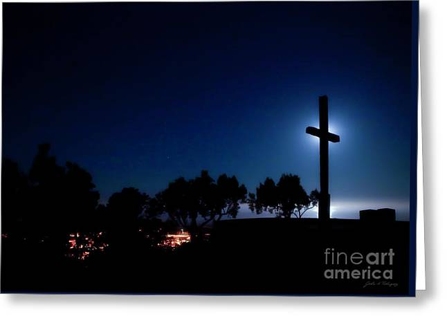 Ventura Ca Cross At Moonset Greeting Card