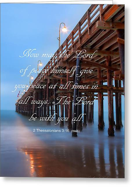 Greeting Card featuring the photograph Ventura Ca Pier With Bible Verse by John A Rodriguez