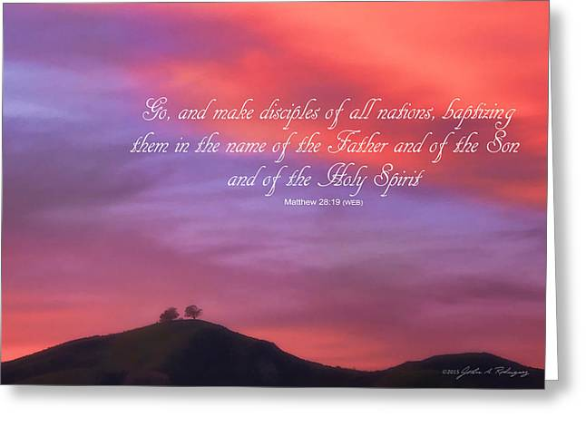 Greeting Card featuring the photograph Ventura Ca Two Trees At Sunset With Bible Verse by John A Rodriguez