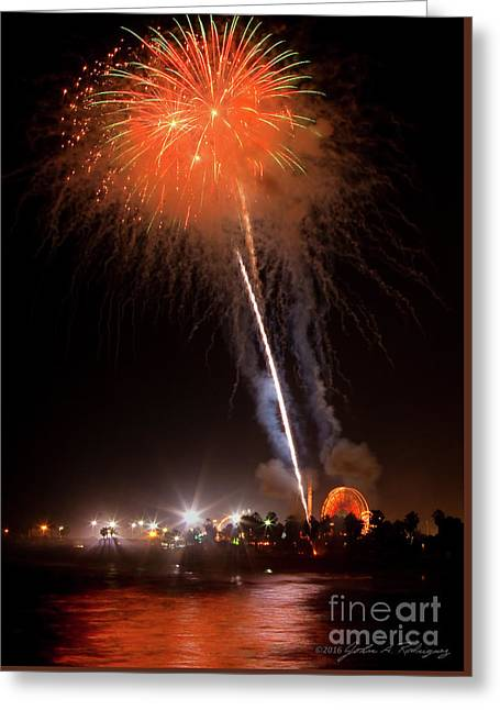 Greeting Card featuring the photograph Ventura California Fair Fireworks by John A Rodriguez