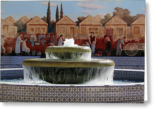 Ventura Fountain And Mural Greeting Card by Art Block Collections