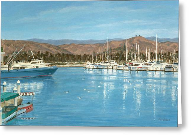 Ventura Harbor And The Two Trees Greeting Card by Tina Obrien