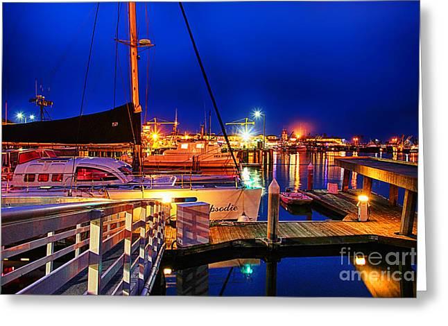 Ventura California Greeting Cards - Ventura Harbor at Night Greeting Card by Mariola Bitner