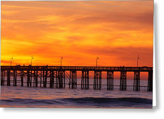 Ventura Pier And Pacific At Sunset Greeting Card by Panoramic Images