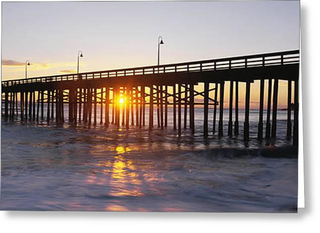 Ventura Pier At Sunset Greeting Card by Panoramic Images