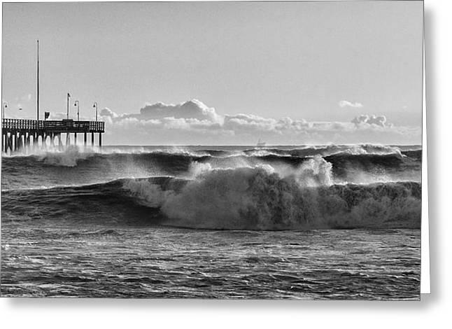 Ventura Pier El Nino 2016 Greeting Card