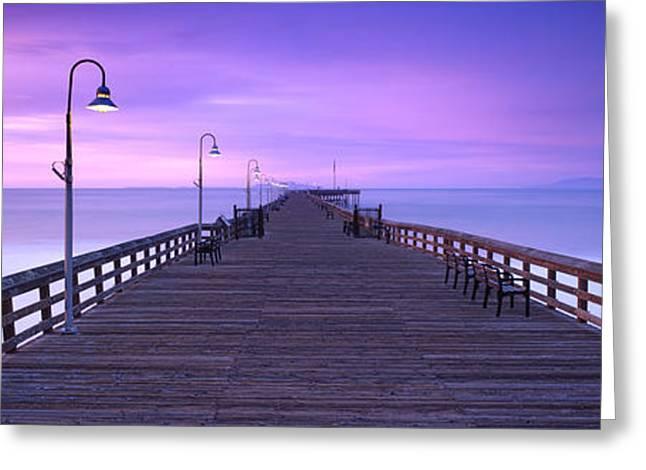 Ventura Pier Morning Mist Greeting Card by Steve Munch