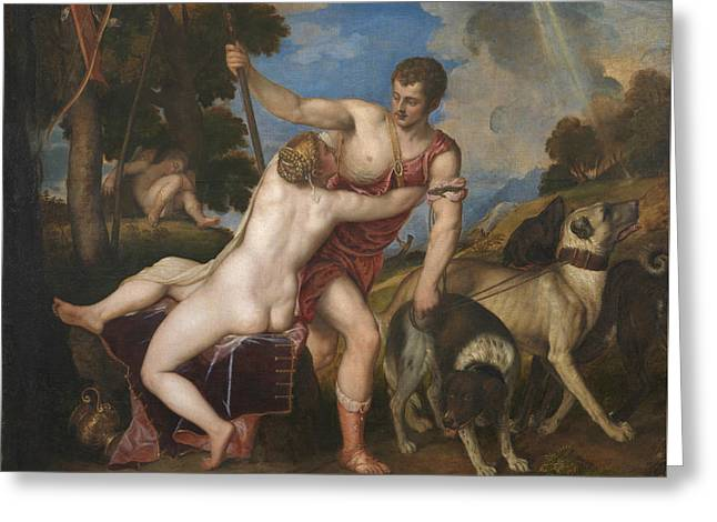 Venus And Adonis Greeting Card by Titian