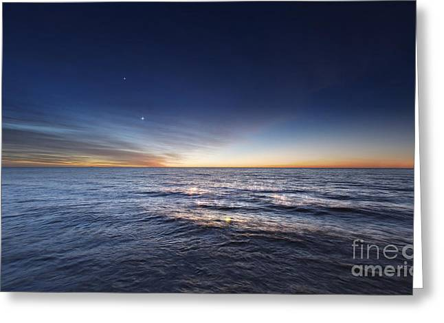 Venus And Jupiter In Conjunction Greeting Card by Luis Argerich
